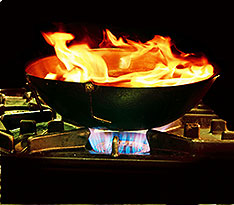 A Wok on Fire in Kitchen